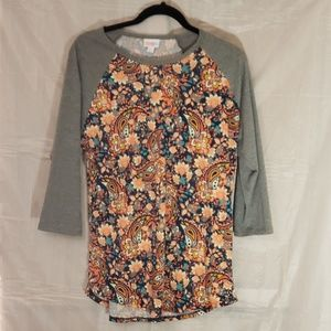 Lularoe Randy floral/paisley heather gray sleeves